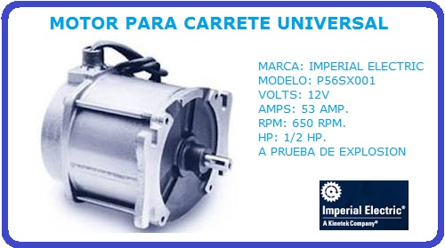 Imperial Electric Motor Carrete Motor Para Carrete Electrico