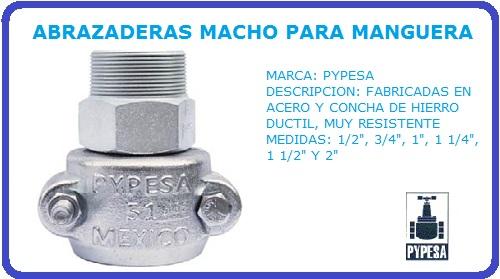 ABRAZADERAS MACHO PARA MANGUERA