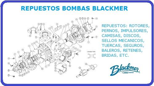 REPUESTOS BOMBAS BLACKMER, IMPULSORES, ROTOR, PERNOS, SELLO MECANICO