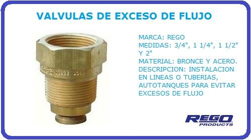 VALVULAS DE EXCESO DE FLUJO REGO