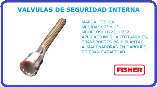 VALVULAS DE SEGURIDAD INTERNA FISHER, VALVULAS DE SEGURIDAD, FISHER, H722, H732,
