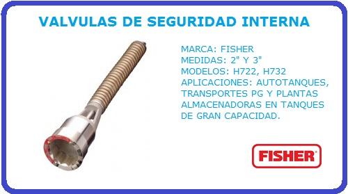 VALVULAS DE SEGURIDAD INTERNA FISHER, VALVULAS DE SEGURIDAD, FISHER, H722, H732,