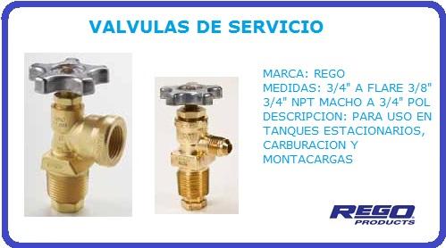VALVULAS DE SERVICIO
